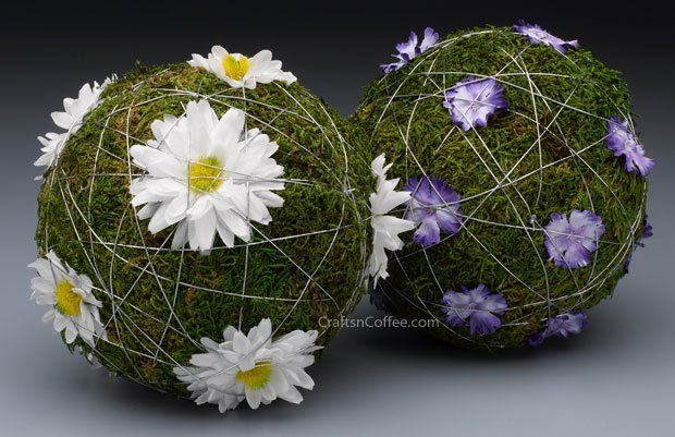 I love these Blooming Moss Balls even more than the plain ones. Nice with the silver cord, too. CraftsnCoffee.com.