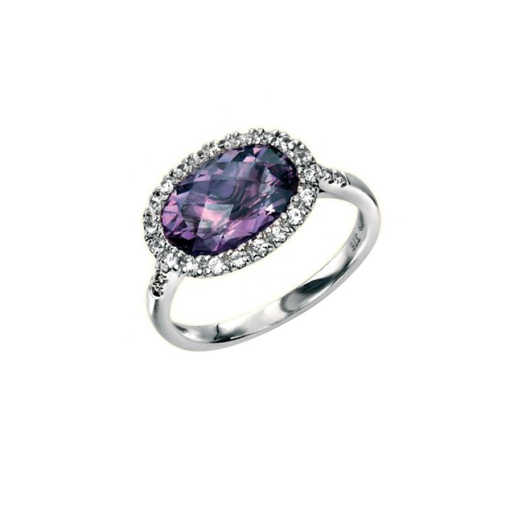 9Ct White Gold Ring With Checkerboard Amethyst And Pave Set White Sapphire