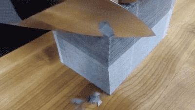 If that impressed you, what if we doubled the stack? WOW. | 12 Extremely Satisfying GIFs Of Things Being Cut By Knives