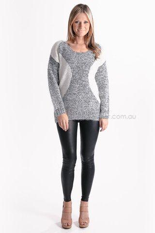 hidden sparkle jumper - grey/white - sale