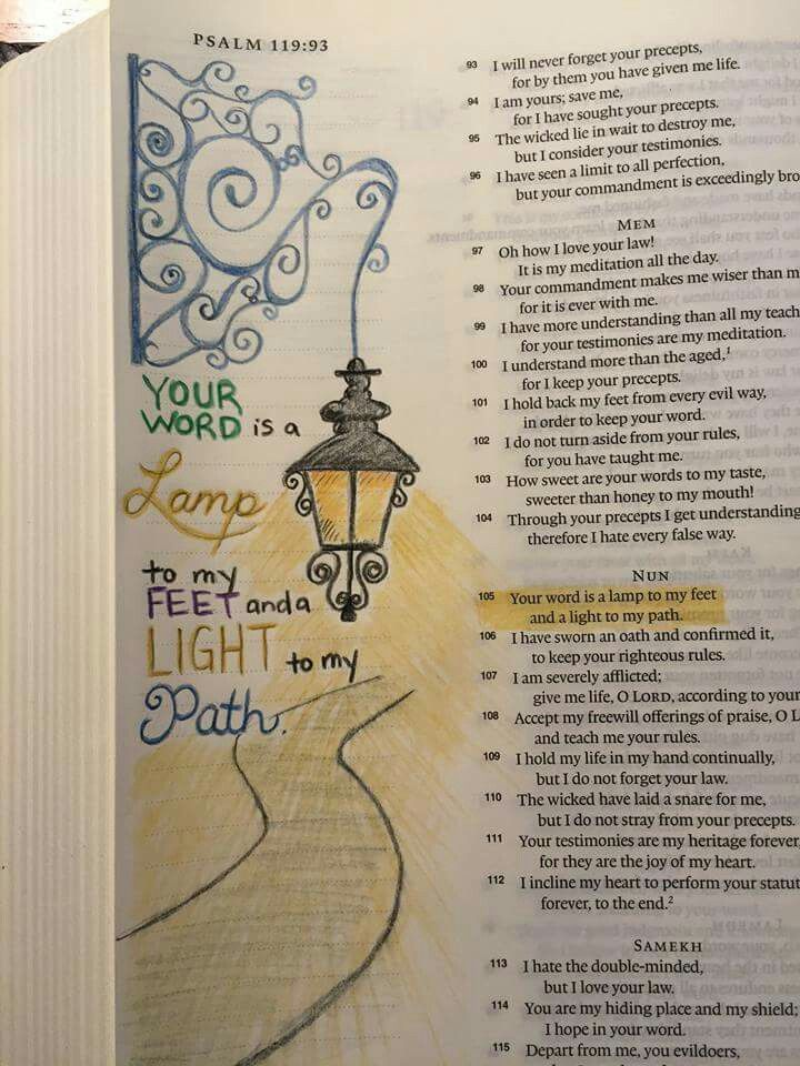 Your word is a lamp to my feet and a light to my path. .