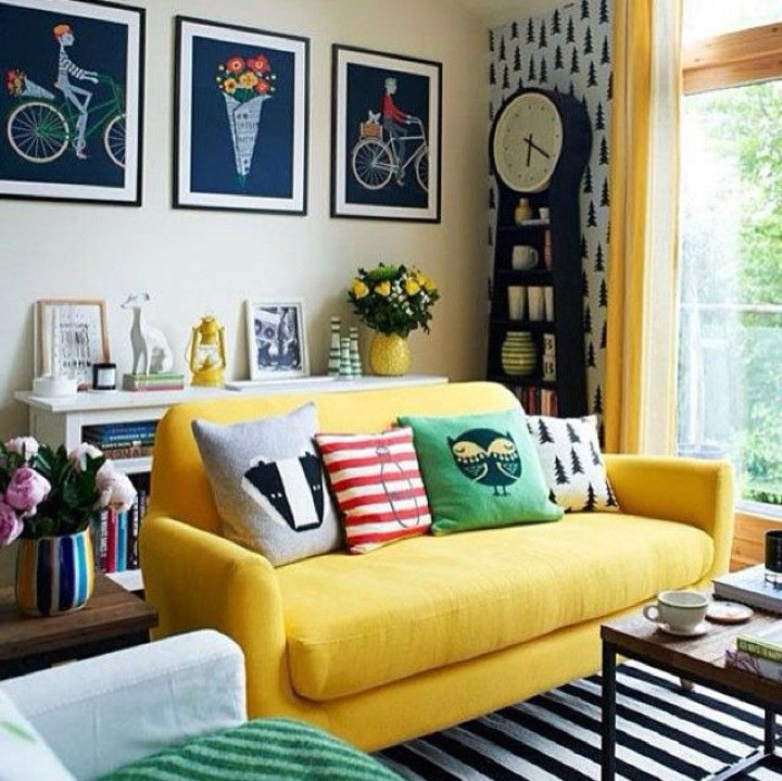 Yellow, blue, red color scheme.