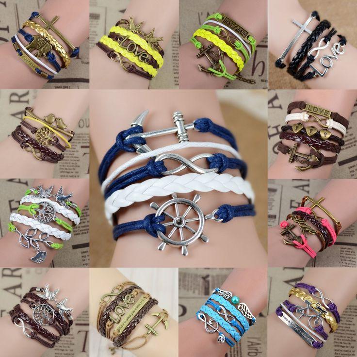 15 cores O envio gratuito de Moda da infinidade da âncora do vintage gancho pulseira de couro artificial, Homens Mulheres Pulseiras & Bangles Jóias
