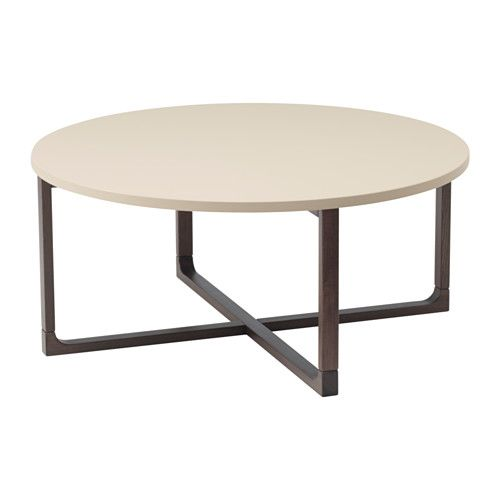 IKEA - RISSNA, Coffee table, , The high-gloss surfaces reflect light and give a vibrant look.The table legs are made of solid wood, a durable, natural material.The round shape gives you a generous table top for trays, coffee or tea services. The dimensions make the table easy to place in the room.