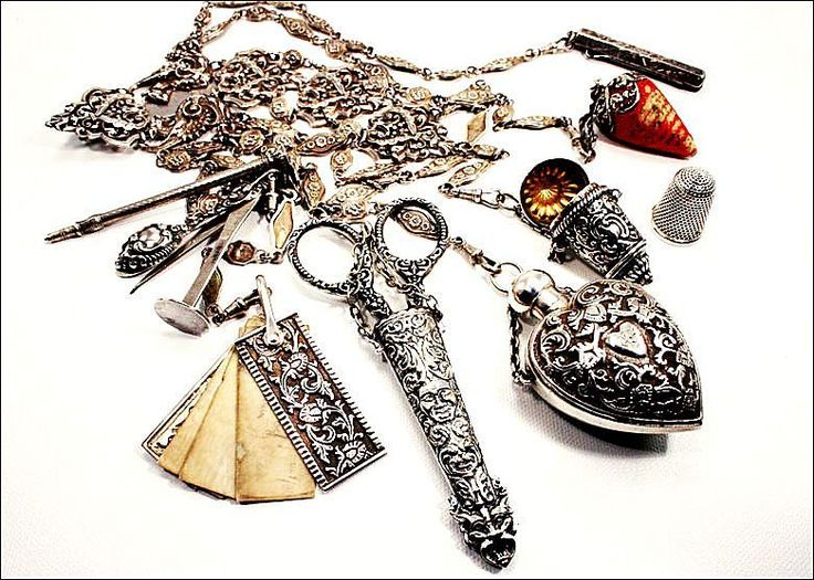 Amazing Museum Quality Antique Victorian Silver Chatelaine with Eight Accessories, Hallmarked 1888-1907