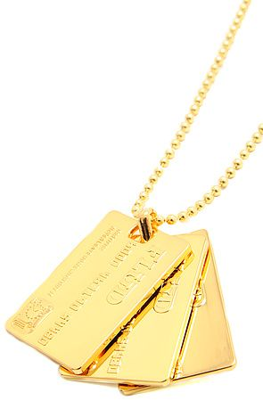 The Credit Card Necklace in Gold by Flud Watches
