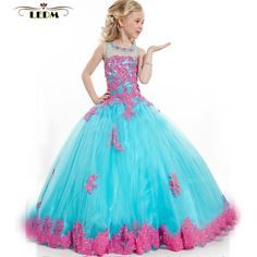 2017 new crystal Floor-Length turquoise green red children beauty pageant dresses plus size puffy dresses for kids prom