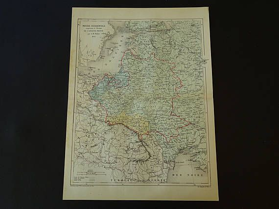 RUSSIA old map of Baltic States and Poland 1858 original