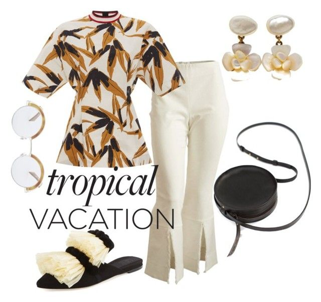 """""""tropical vacation"""" by constantinerenakossy on Polyvore featuring Marni, Chanel, Sanayi 313, Oliver Peoples, Sara Barner and Constantine/Renakossy"""