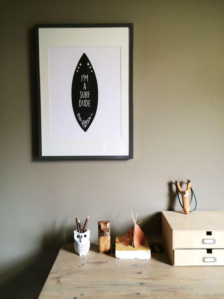 poster 'surf dude' now in the webshop www.saltymilk.nl #kidsroom #design #ontwerp #poster #surfdude
