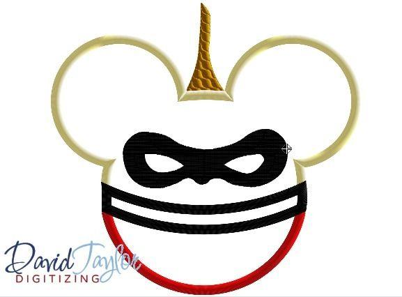 Incredible Jacks Mouse Head Machine Applique Embroidery Design - DTDigitizing