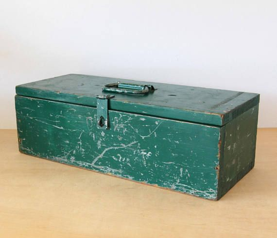 Vintage Green Handmade Wooden Tool Box with hinged lid