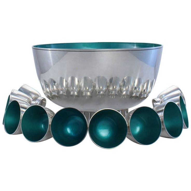 Outstanding Towle Sterling Silver Mid-Century Modern Enameled Punch Bowl Set | From a unique collection of antique and modern barware at https://www.1stdibs.com/furniture/dining-entertaining/barware/
