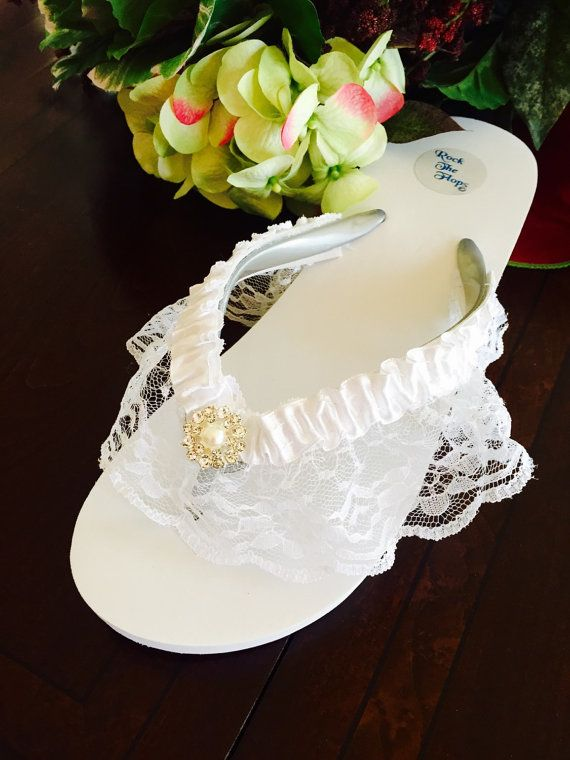 Bridal Flip Flops/Wedges.Wedding Flip Flops/Sandals.White Flip