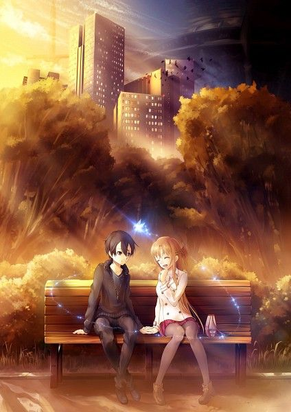 Tags: Anime, Bench, Scenery, Sword Art Online, Yuuki Asuna, Sitting On Bench, Yui (Sword Art Online)