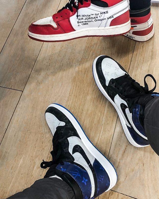 850043038a2  hypebeastkicks  Kim Jones flexing a pair of Air Jordan 1s with Louis  Vuitton monogram overlay. 👀 Photo   mrkimjones