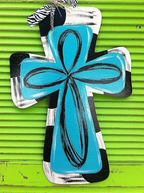 Painted wooden Cross Door Hanger with ribbon