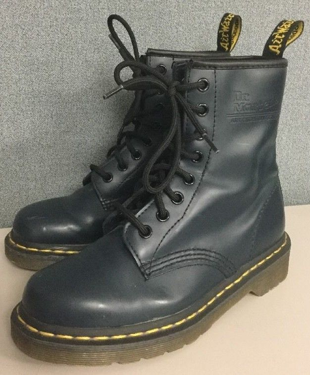 Dr Doc Martens Airwair Boots Navy Blue Leather Eyelet Lace Up Mens 5 / Womens 6 #DocMartens #Boots