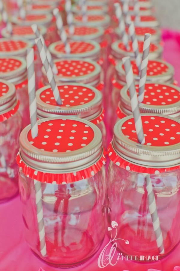 Mason jar with inverted cupcake liner as lid - punch a straw through to drink!