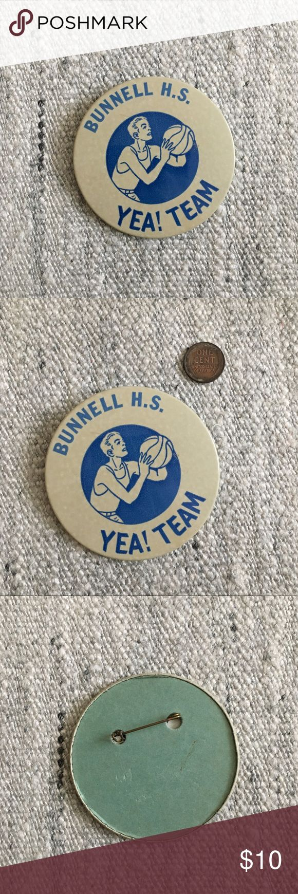 """'60s / Bunnell High School Button """"Bunnell H.S. Yea Team!"""" button circa 60s. Located in Stratford, Connecticut. Established in 1960, this pinback is definitely from the first few years it was open. The bigger the bundle the bigger the discount, I have lots of buttons for sale -- add your favorites to a bundle and I'll send you an offer ✌🏼  *Penny shown for scale. ☒ I do not model or trade, sorry! ❁ Check out my closet for more pins and buttons!  {lapel, hat pin, badge, button, pinback}…"""