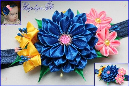 .3 different types of kanzashi flowers.