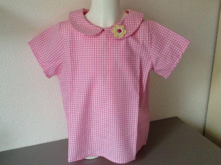 Blouse fillette en vichy rose col claudine : Mode filles par nany-made