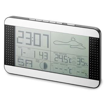 STAZIONE METEO mod. 3574 con orologio, da tavolo o da parete. Funzioni: calendario, igrometro, e termometro da interno e da esterno in gradi Centigradi e Fahrenheit. In ABS e plastica colore silver/nero. F.to 22 x 7,1 x 2,5 cm.