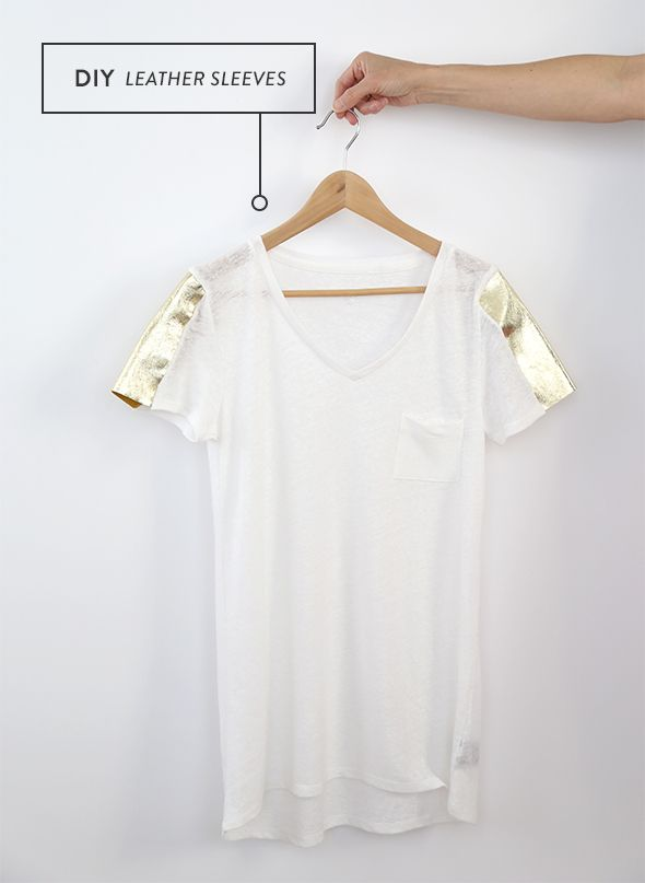 Update a plain tee with DIY leather sleeves.
