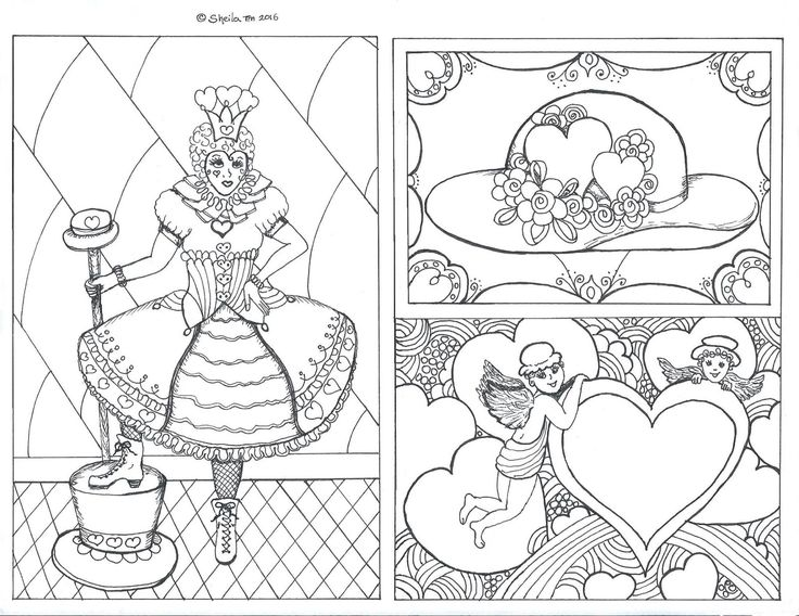 Re Creations Queen Of Hearts And Valentine Coloring Page