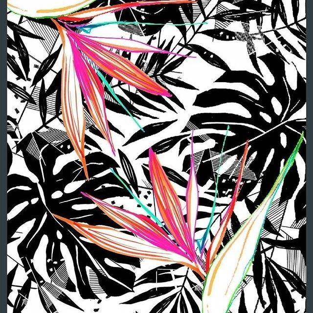 katya.grib Here is a sneak peak of my new tropical pattern, monochrome, primary, except with a splashes of color. 🌸🌸🌸 Мой новый тропический принт, восновном, черно-белый с яркими 🌸🌸🌸. #textiledesign #tropical #tropic #foliage #surfacepattern #surfacedesign #textiles #graphic #pattern #katerinagri #monochrome #floral #flower #birdsofparadise #print #black #fashionprint #handdrawn #принт #орнамент #текстильныйдизайн #дизайнткани #дизайнповерхности #тропический #тропики #лето #черн...