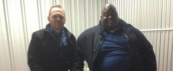 Bill Burr and Lavell Crawford sit on stacks of cash on the set of Breaking Bad (Photo) #BreakingBad