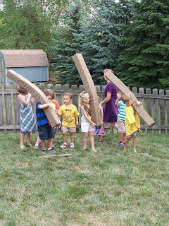 A Crafty Chick: brave party caber toss game made with foam and woodgrain fabric Great ideas!!!