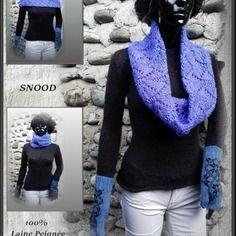 Echarpe snood en laine extra bleu fait main en france