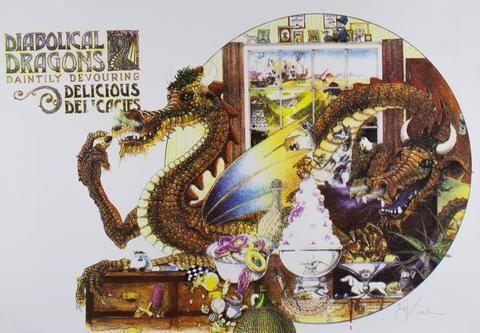 Graeme Base 'Diabolical Dragons' - signed screenprint on paper
