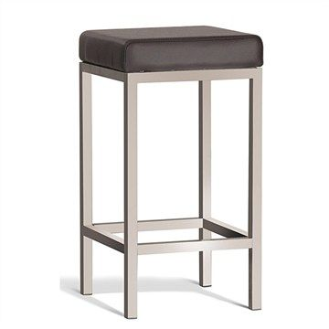 Quadro Commercial Grade 65cm Brushed Stainless Steel Stool - Brown