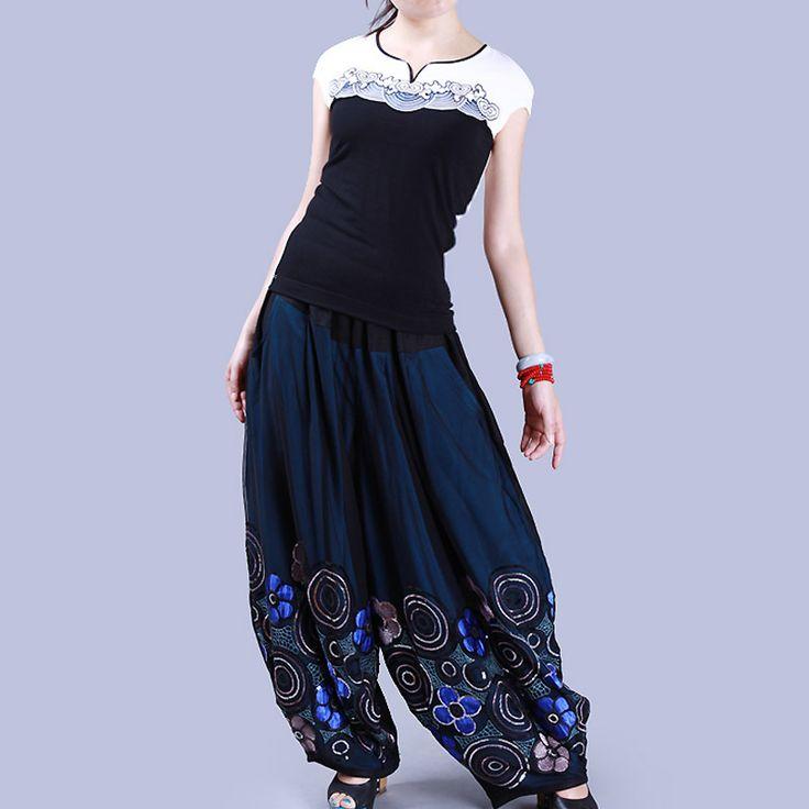 Дешевое [ LYNETTE'S шинуазри   легенда ] национальный тенденция женские брюки жидкости сыпучих женские широкие брюки ноги Большой размер свободного покроя брюки k059, Купить Качество Брюки и капри непосредственно из китайских фирмах-поставщиках:                 S                           Torewide 25%-50%                                     50% для легенда одежда