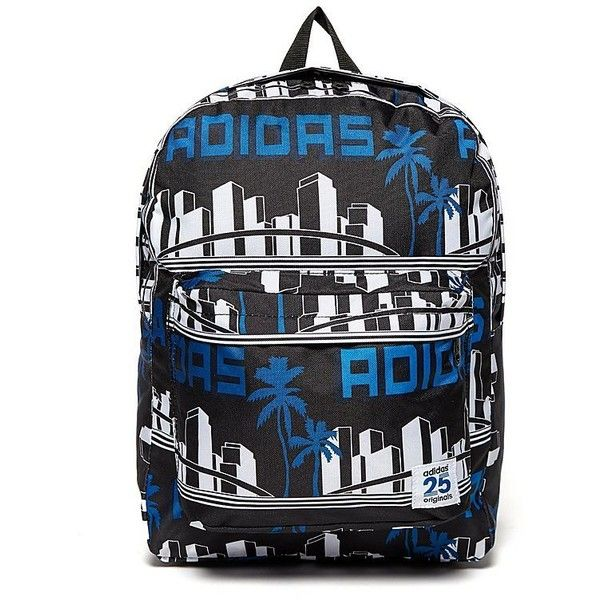 adidas Originals Nigo LA Palm Backpack ($50) ❤ liked on Polyvore featuring bags, backpacks and black