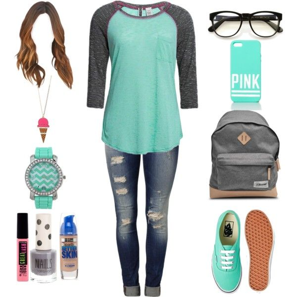 Grey and mint baseball tee,ripped jeans,mint watch,ice cream charm necklace,mint colored Pink brand phone case,grey nail polish,mascara,eyeliner,consealer,light brown curly long hair,grey school bag,and nerd glasses...