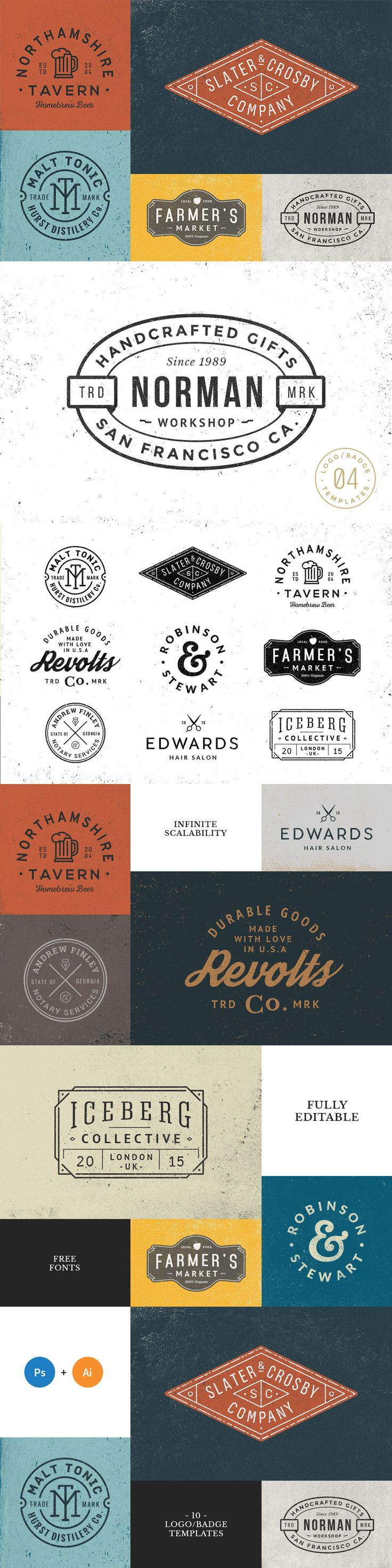 10 Logo / Badge Templates AI, PSD, PNG
