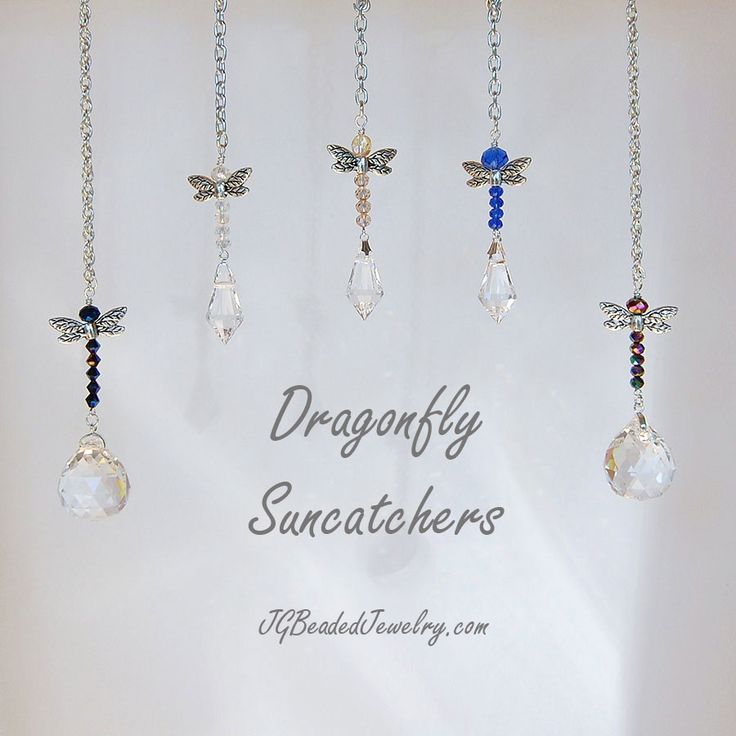 Dragonfly Suncatchers for your home or rear-view mirror. #dragonfly #suncatcher #crystals