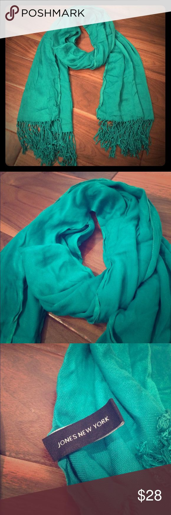 Jones New York scarf Teal scarf with fringe. Super soft. Perfect for fall. No signs of wear. feel free to ask questions. Jones New York Accessories Scarves & Wraps