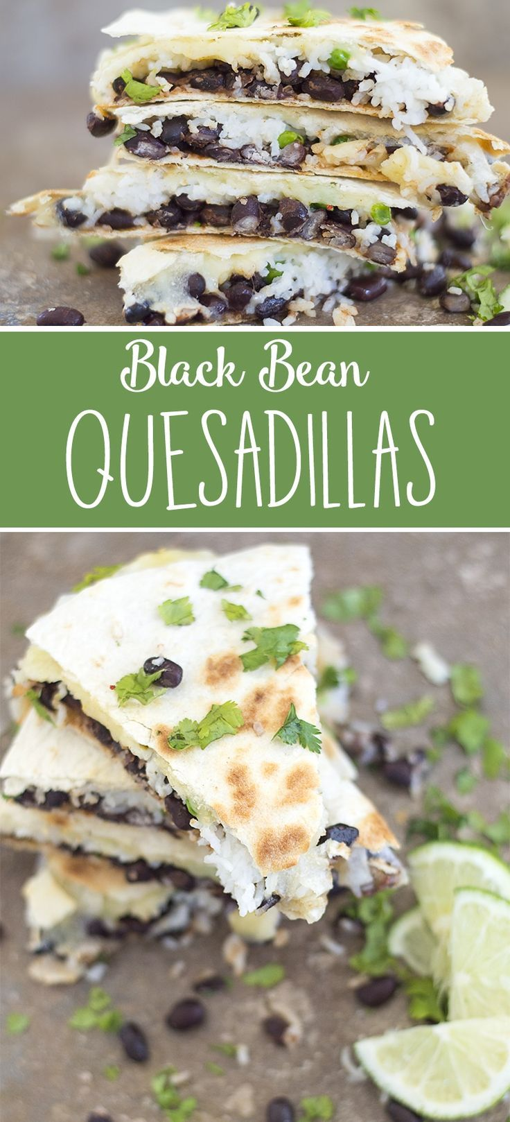 Quick, easy & stuffed black bean quesadillas made with coconut rice and peas. Topped with delicious melted pepper jack cheese. Perfect for weeknight dinners