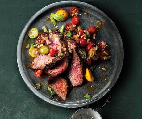 Flank Steak with Bloody Mary Tomato Salad Recipe at Epicurious.com (i want to put this in my mouth)