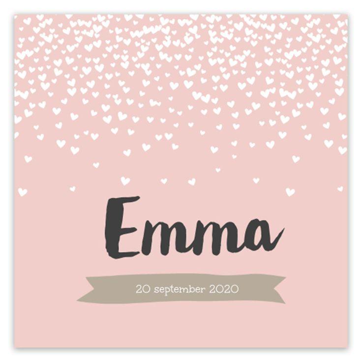 Hartjes, confetti, pastel en een stoere typografie. Wat wil je nog meer op een geboortekaartje voor een meisje? We love it!