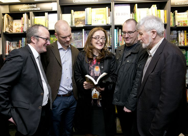 Róisín Ní Ghairbhi at the launch of her book 16 Lives: Willie Pearse. Pictured left ro right with Lorcan Collins, John O'Callaghan (Con Colbert) Ruan O'Donnell and Michael O'Brien