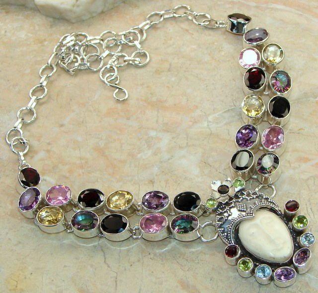 Carved Bone Goddess & Multi Gemstone Statement Necklace : 925 Goddess Necklace
