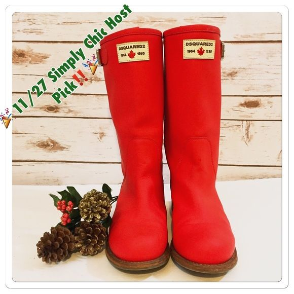 DSQUARED Shoes - ‼️🎉Dsquared2 Red Leather Wellington Boots - 39‼️