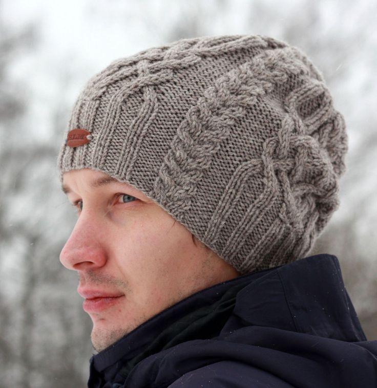 Купить Вязаная шапка-бини с аранами и кельтскими узорами. - бежевый, шапка, вязаная шапка