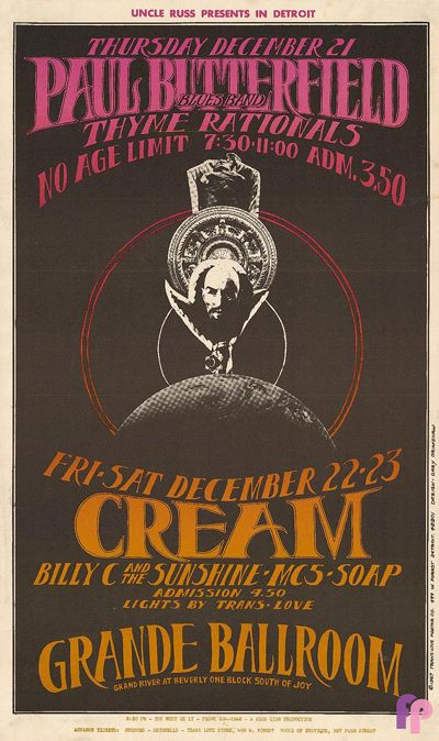 Winterland, 2/29-3/2/68, Fillmore Auditorium, 3/3/68, Cream and Paul Butterfield, Art Poster by Lee Cronklin