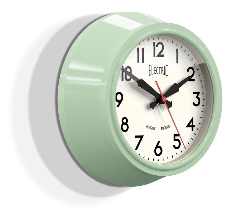 Small Electric Wall Clock in Kettle Green design by ...